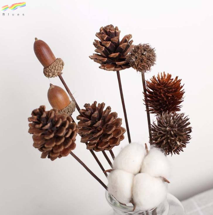 Handmade Natural Dried Pine Cone Acorn Okra Cotton Pinecone Home Decoration