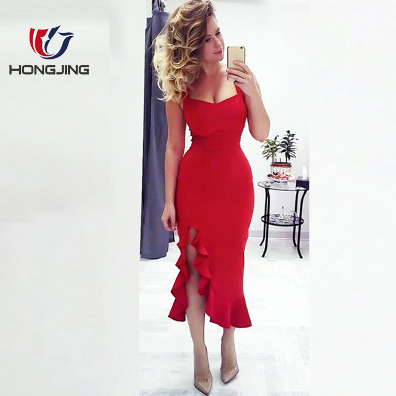 women wear v- neck shoulder strap floor length dress Sleeveless Gown slit ruffled hem back zipper closure bodice evening dress