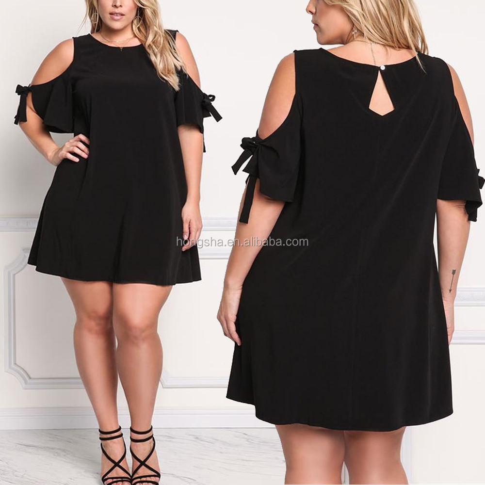 Chic XXXXL Plus Size Tied Cold Shoulder Shift Dress Cocktail Dress For Fat Women Clothing HSd5002