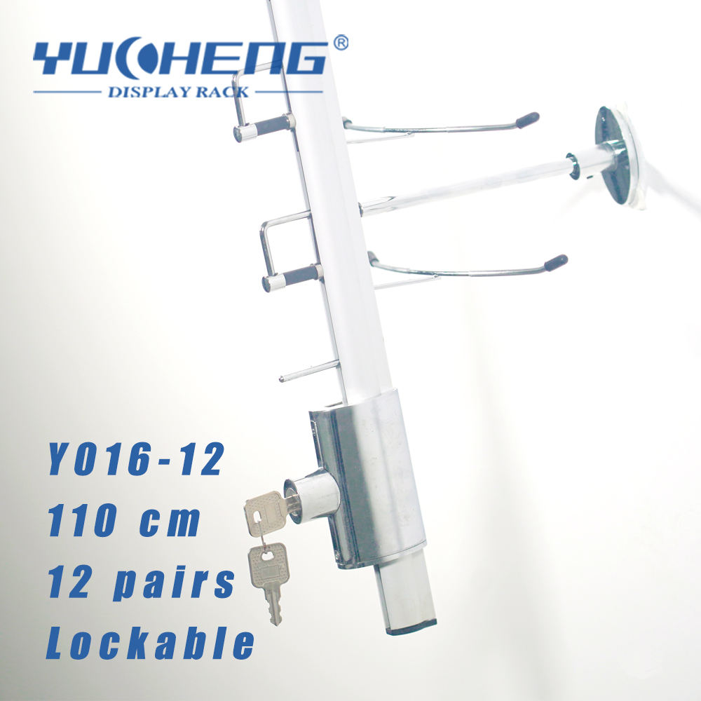 [YUCHENG] 110cm wall mounted lockable sunglasses display rod 12 pairs wall mount sunglasses rod with lock Y016-12