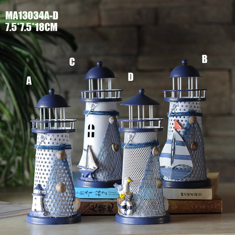 Ywbeyond 18cm Mediterranean style home nautical decor candle holder lighthouse decorations