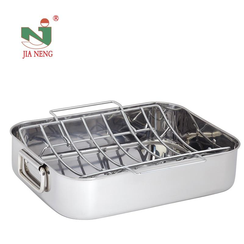 Classic Stainless Steel Turkey Roasting pan 42cm Rectangular Roaster Serving Pan with Rack