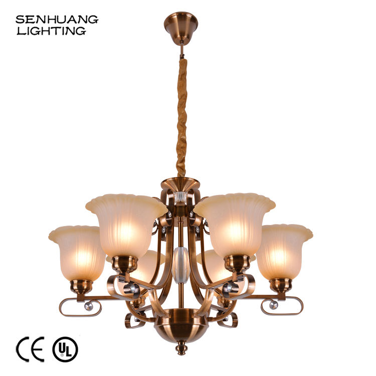 Contemporary Customized Luxury Home Decorative 6 Light E27 LED Murano Glass Pendant Chandeliers Lights Zhongshan