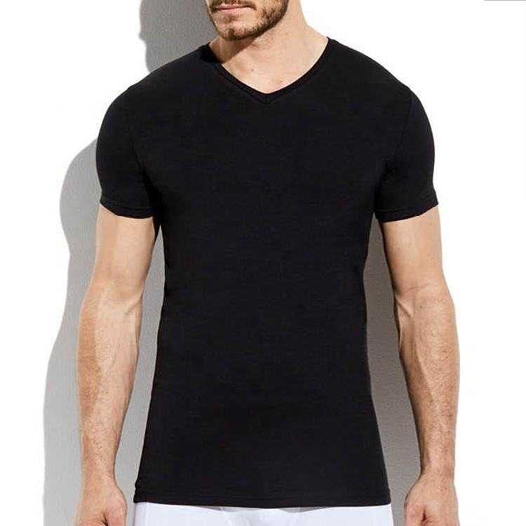 2020 Trendy Custom High Quality Slim Fit Blank Black Cotton V-Neck T-Shirts