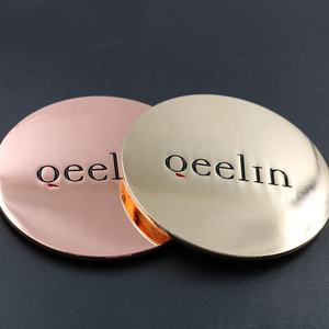 Manufacturer custom logo zinc alloy shiny rose gold candle jar metal glass lid