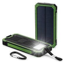 2020 cell phone charger Waterproof Portable Solar Power Bank 10000mah with LED Light solar charger power banks