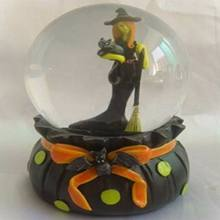 transparent glass christmas water ball with witch inside