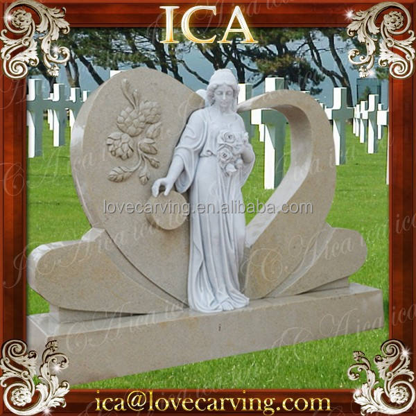 white marble & sandstone mix tombstone for angel cemetery statues