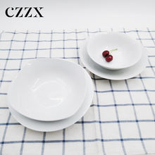 wholesale custom design restaurant white porcelain dinnerware plate bowl