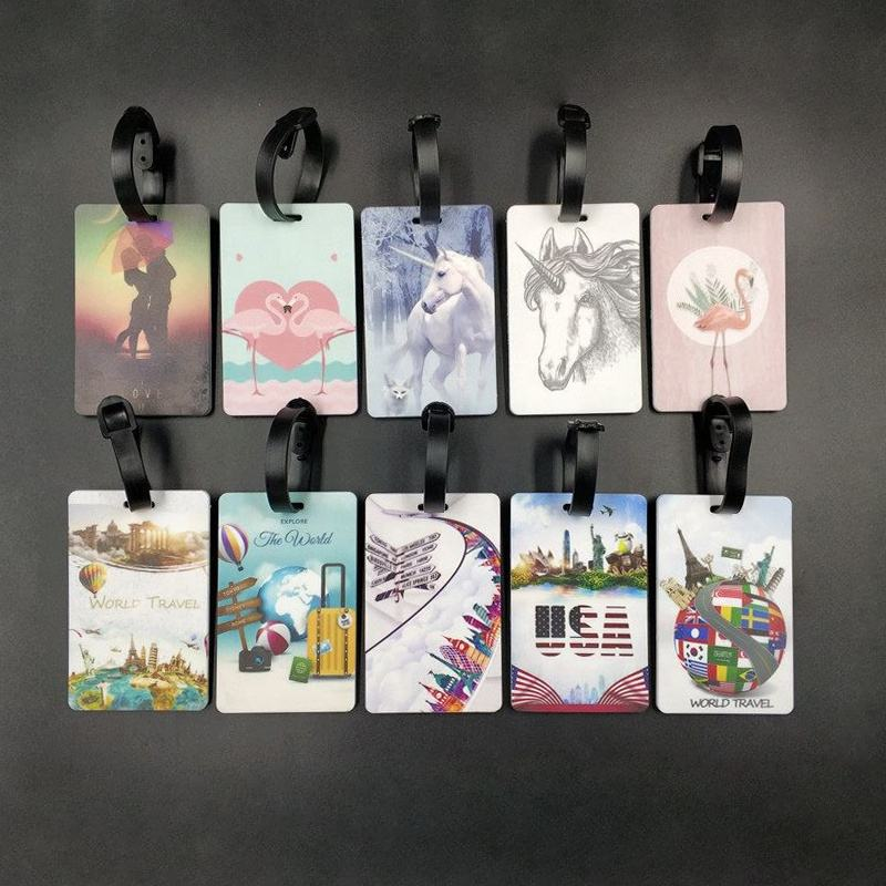 Personalized OEM ODM PVC Rubber Unicorn Printed Custom Luggage Tag for Bag