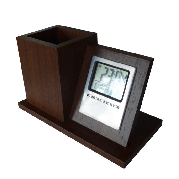 Commercio all'ingrosso Calendario Da Tavolo Elettronico di Legno Led Digital Alarm Clock Pen Holder