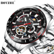 BOYZHE New Arrival Luxury Stainless Steel Men Automatic Mechanical Tourbillon Watch