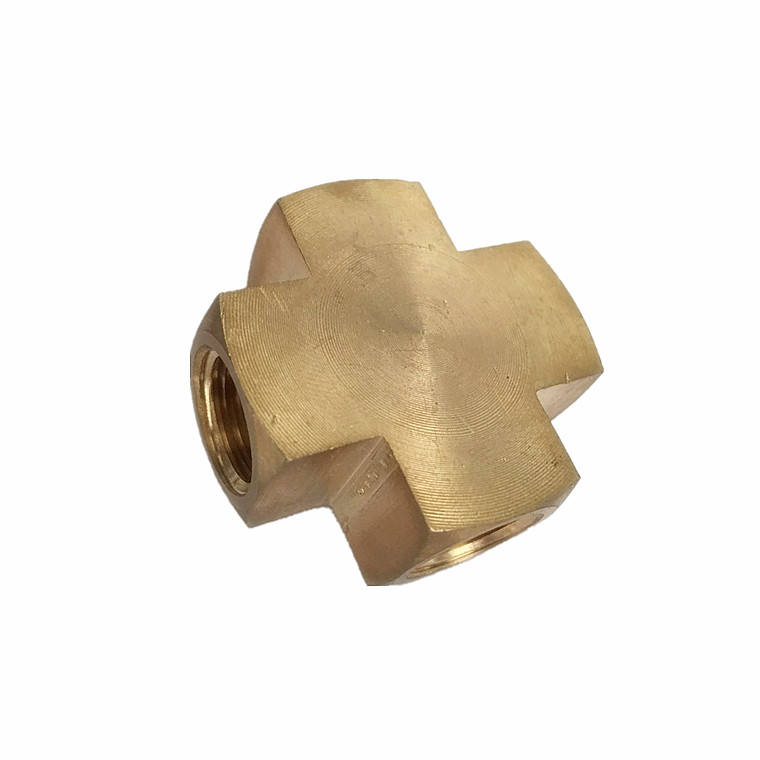 hot sale brass cross pipe fitting , air lines cross pipe connector , 1/4'' NPT cross shape brass adapter in stock
