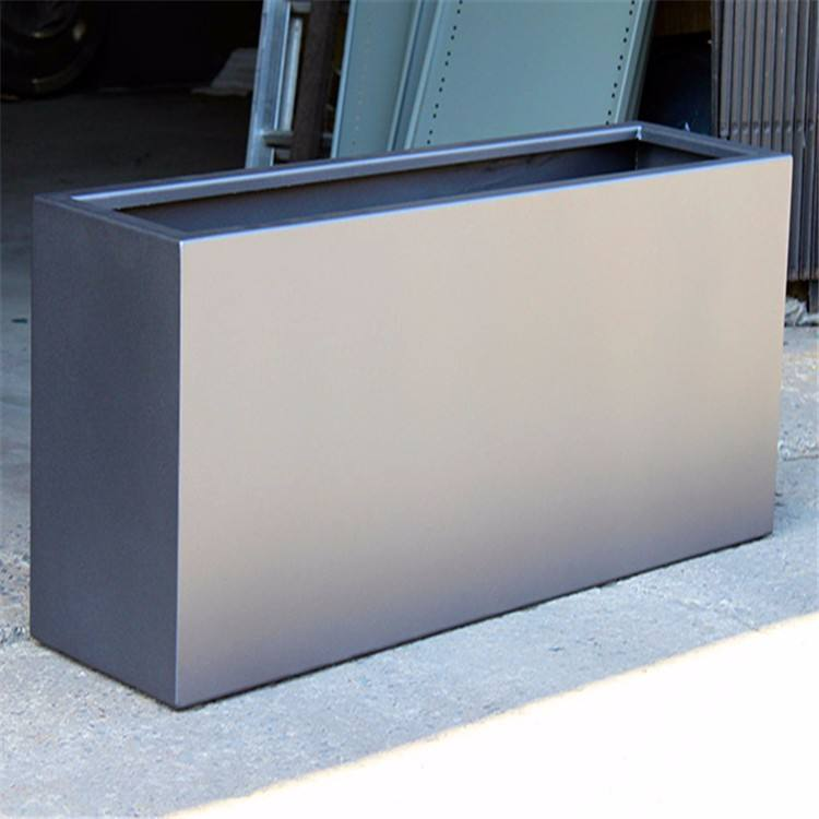 Large Modern Outdoor Rectangular Stainless Steel Planter