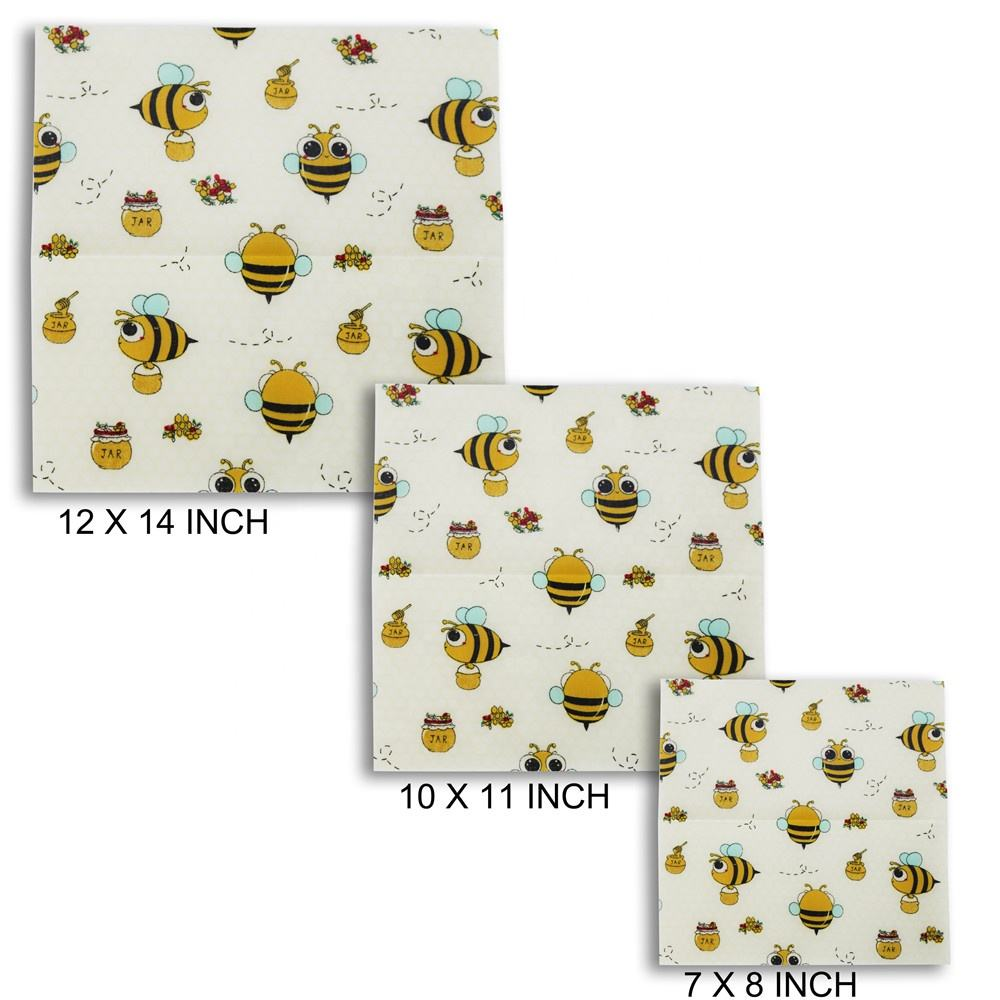 Trend 2021 Organic Natural Beeswax Made Cotton Cloth Reusable Sustainable Food/Sandwich Storage Food Grade Beeswax Food Wraps