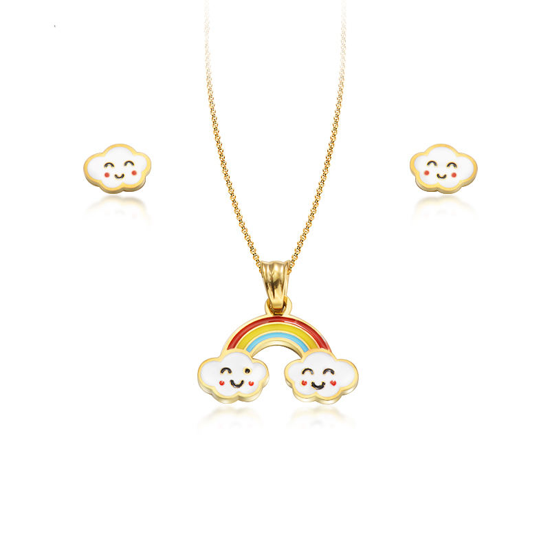 BAOYAN Wholesale Cheap Smile Rainbow Cloud Bridge Stainless Steel Kids Jewelry Sets