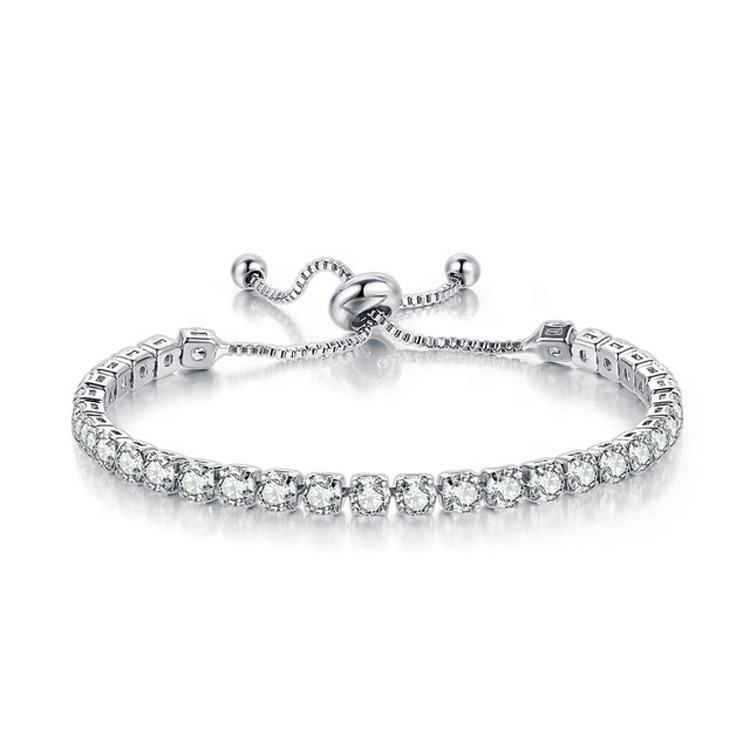 Fashion Jewelry 18k Rose/White Gold Chain Round Shape 4mm CZ Cubic Zirconia Diamond Adjustable Tennis Bracelets For Women H133-M