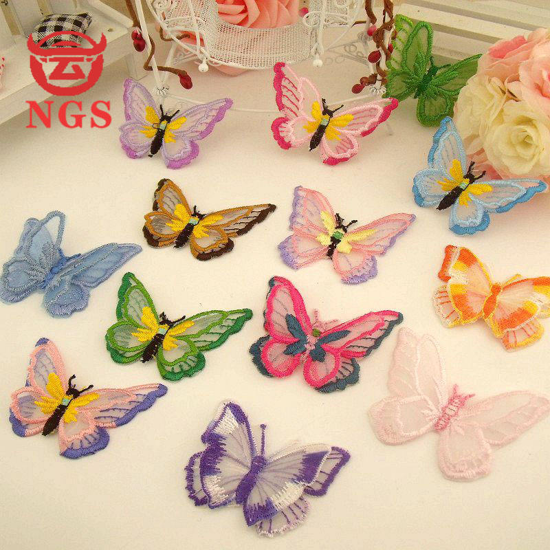 custom different color classic lace embroidered butterfly shoes dress clothing custom label patch suitable for cloth
