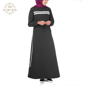 New Design Muslim Wear Sport Abaya White Stripes Front Jilbab