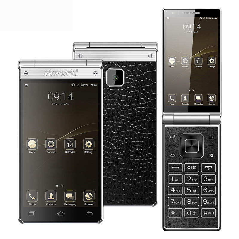 Wholesale 4.2'' Dual Touch Screen Keyboard Flip Phone vkworld T2 Plus 4G Android Mobile Phone 3+32G 2000mAh OEM Smartphone