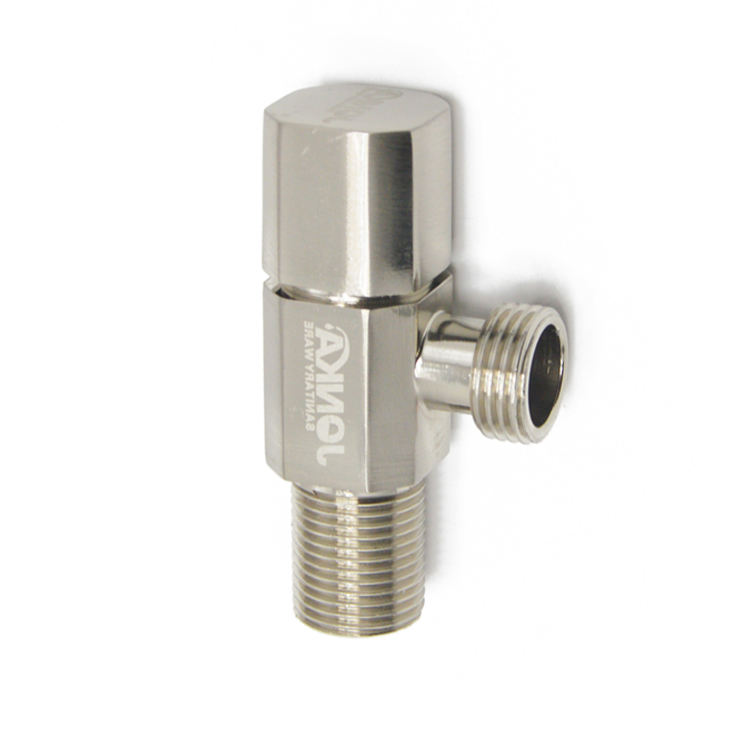 High quality standard brushed nickle 90 degree water angle stop check valve