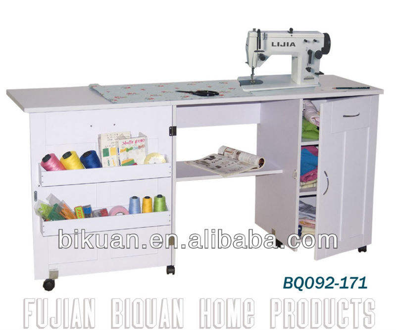 BQ wheeled wooden sewing machine table with drawers