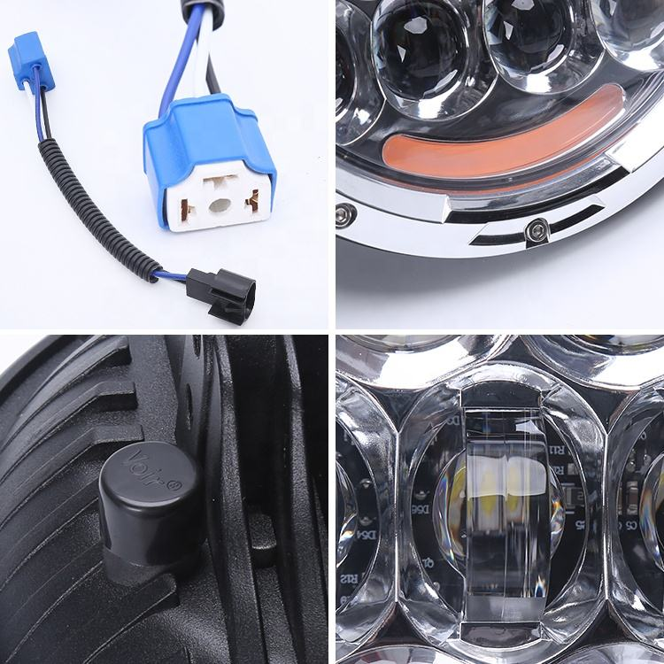 Top quality !! 7'' 105w round used original OSRAM led chips high/low beam head light for jeep wrangler, motorcycle