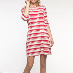 2020 new arrival women clothing manufacturer custom  women  bamboo stretchable crew neck striped long sleeve mini casual dresses