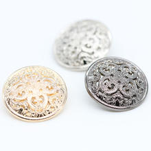 fancy round shape down hole shank hollow out metal coat buttons for sale