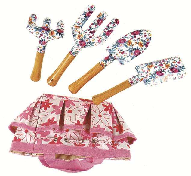 Kidの5-Piece Mini Garden Real Tool Set木製ハンドル