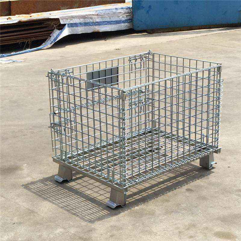 Metal folding collapsible stacking storage wire mesh pallet container