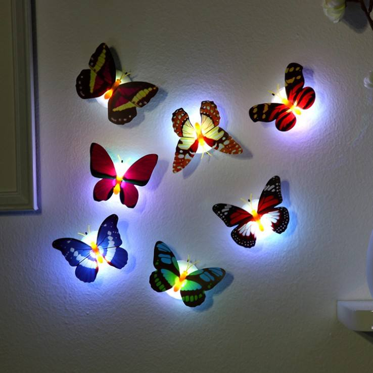 Energy saving Pasteable Butterfly Night Light Soft light Decoration with Battery