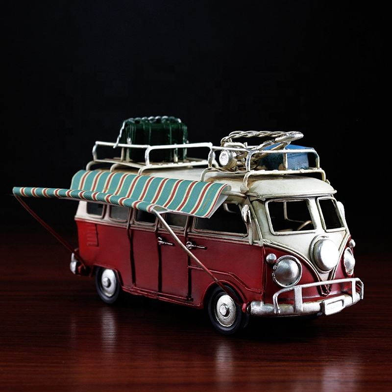 Groothandel Vintage Bus Model Top Op Bagage Auto Caravan Mini Metalen Bus Model Handgemaakte Decoratie Home Decor