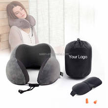 U shape personalized travel neck pillow with cell phone pocket with eye mask earplugs