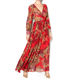women chiffon red leopard printed maxi dress
