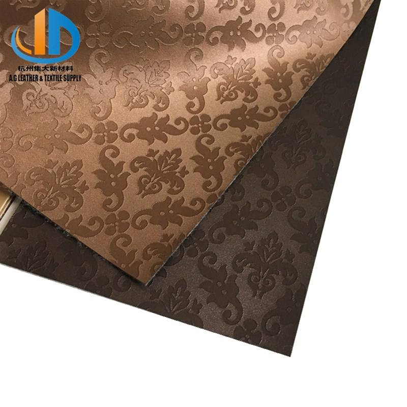 Water-proof embossed Woven pvc Leather Fabric for sofa furniture decoration materials
