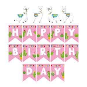YISHU llama happy birthday party supplies happy birthday banner DIY Alpaca party banner