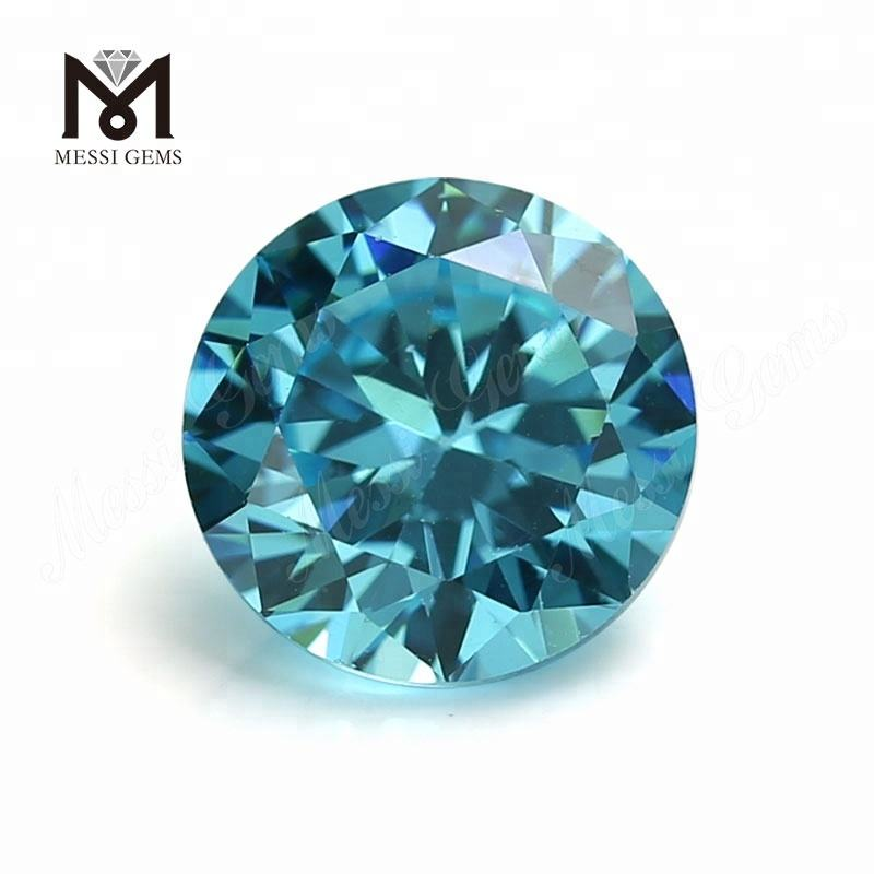 Round Machine Cut Synthetic Aquamarine Cubic Zirconia Stones