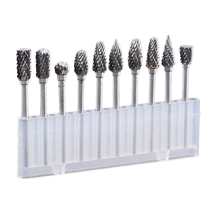 10pcs 3mm x 6mm Tungsten Steel Solid Carbide Burrs Rotary Files Diamond Burrs Set Rotary tool kit