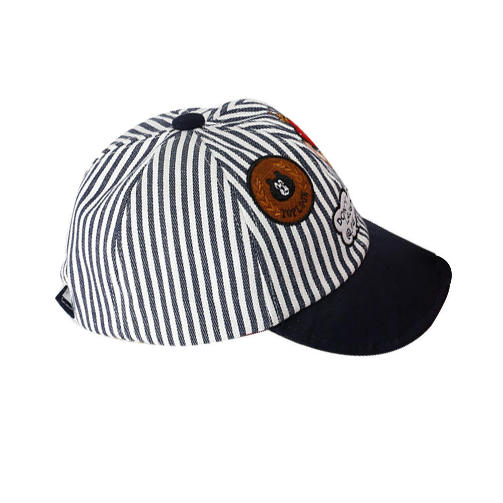 outdoor little boy's cute striped cotton panel baby cap