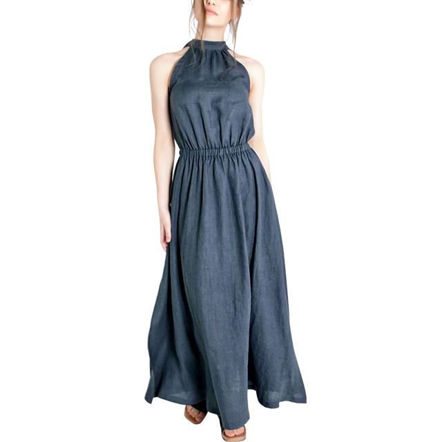 Customize Linen Clothes Ladies High Neck Long Maxi Dress For Women