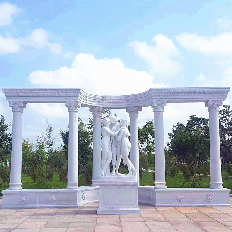 Garden decorative natural stone marble roman column and pillars for sale