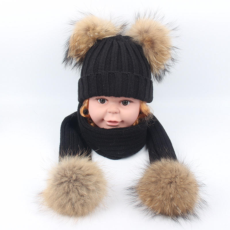 om-106 Child knitted middle Scarf and Hat Set Luxury Winter Warm Crochet Hats and scarves with Real fur pom hat set for baby