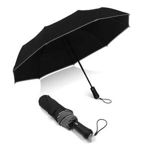 Automatic 3 fold reflective umbrella with led light handle
