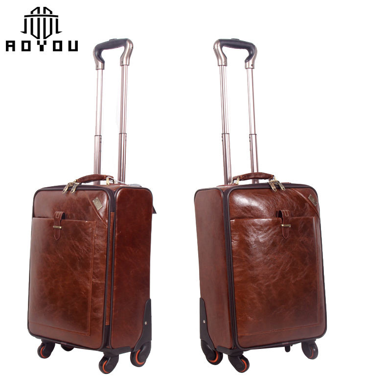 Wholesale guangzhou luggage quality customized luggage set brown leather suitcase