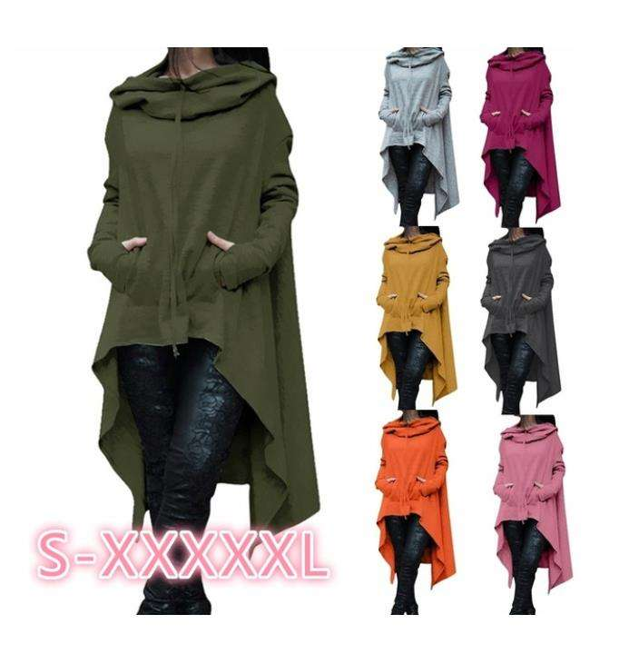 Womens Solid Color Draw Cord Coat Long Sleeve Loose Casual Long Hoodies Sweatshirts Poncho Coat Hooded Pullover