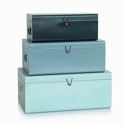 Set 2 Office Home Metal Square storage Mesh Trunk Box Bin With Handles