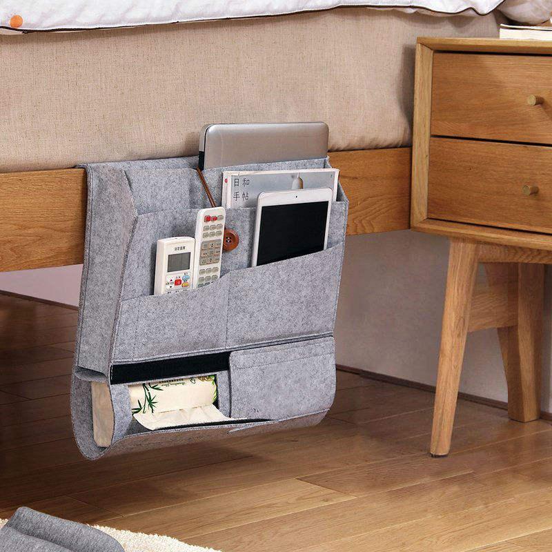 best selling customized eco friendly foldable wool felt home bed/sofa multifunction storage hanging organizer bag
