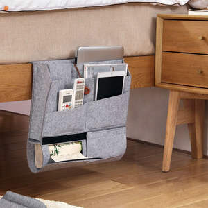 best selling customized eco friendly foldable wool felt home bed/sofa multifunction storage hanging organizer bag