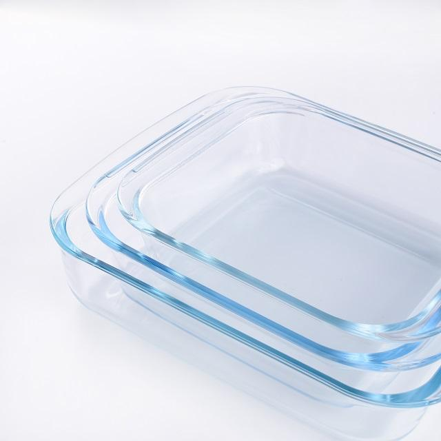 Heat resistant glass rectangle fresh food bakeware set